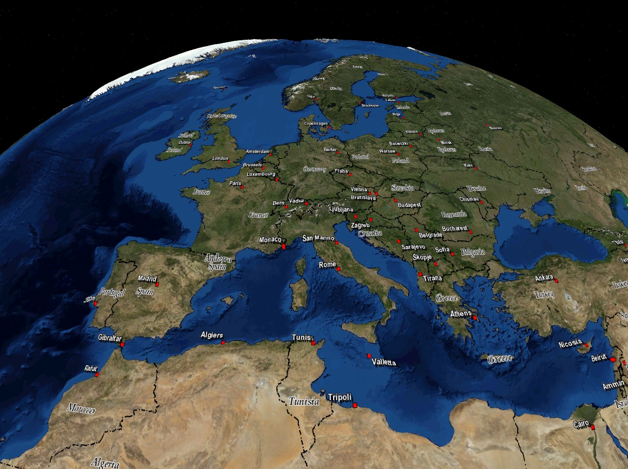 Dsatellite Images And Danimationvisualization - Europe satellite map