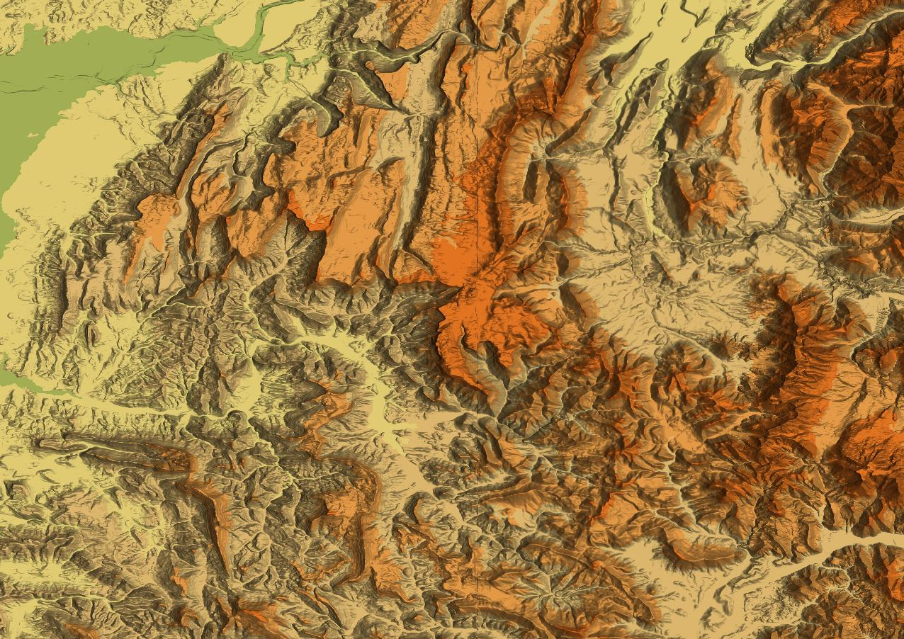 Shaded relief maps and hillshading for topo maps and satellite images