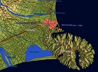 3D Christchurch NZ  map -  vector data combined with  Physical  Relief map.